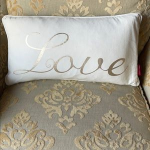 Nicole Miller Love Pillow w/ Gold Lettering 14x24